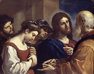 Christ with the Woman Taken in Adultery, by Guercino, 1621